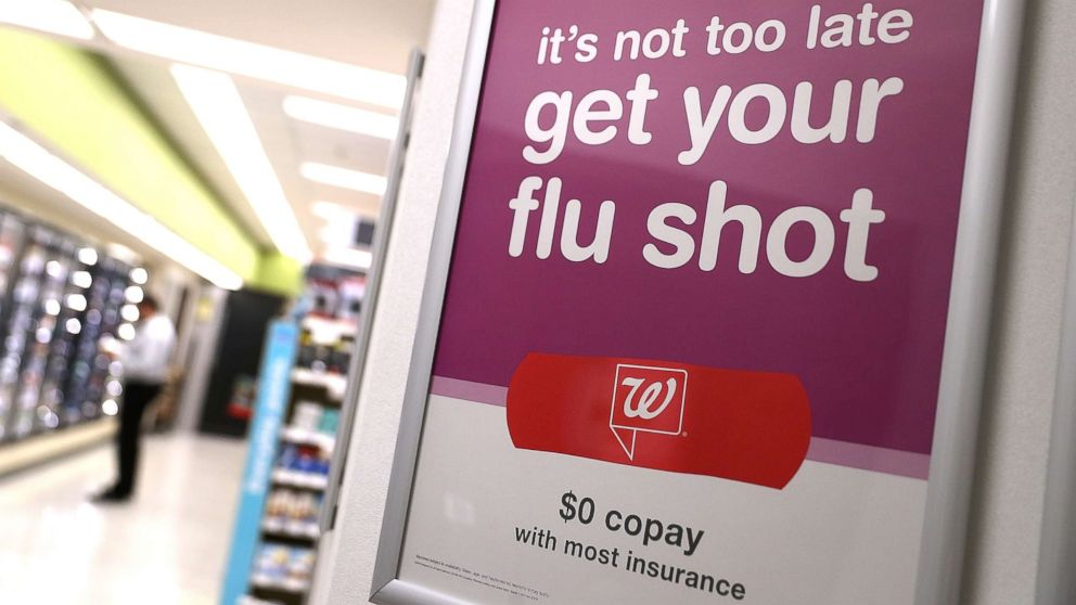 A sign advertising flu shots is displayed at a Walgreen's pharmacy on Jan. 22, 2018, in San Francisco.