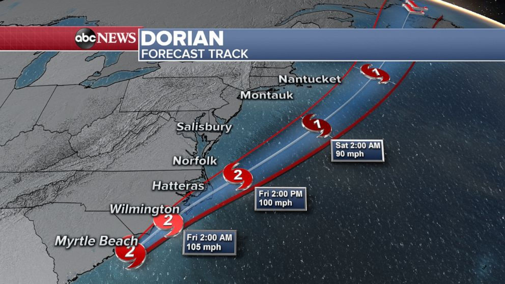 PHOTO: Dorian Forecast Track Map