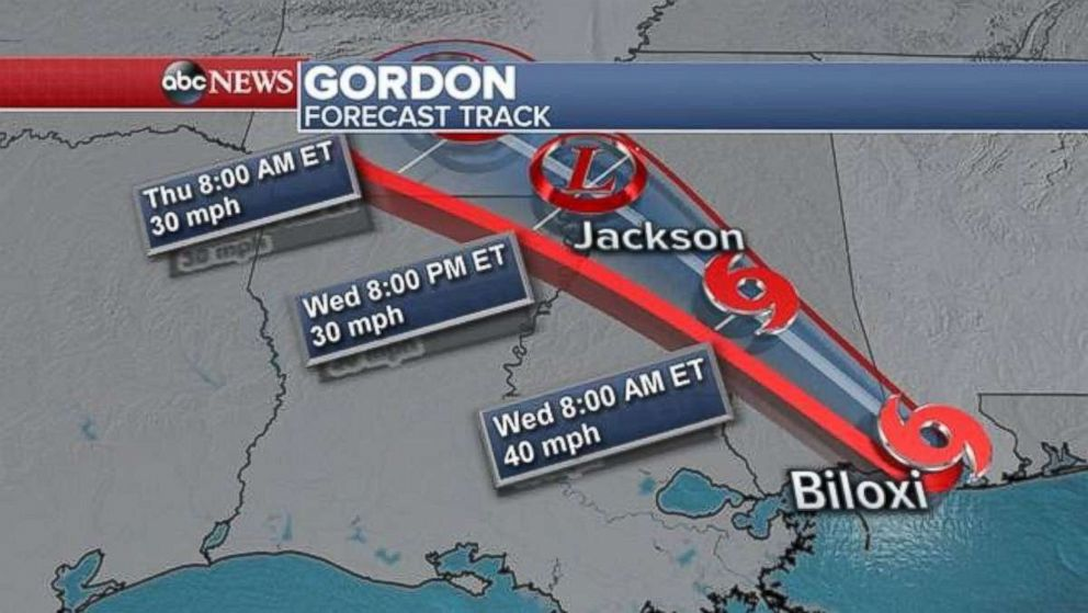 Gordon will bring heavy rain and possible flooding to inland Mississippi, Alabama and Arkansas.