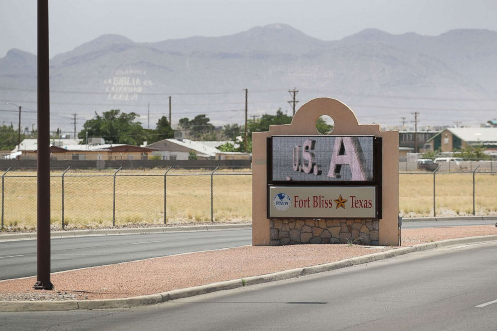 PHOTO: An entrance to Fort Bliss is shown as reports indicate the military will begin to construct temporary housing for migrants, June 25, 2018, in Fort Bliss, Texas.