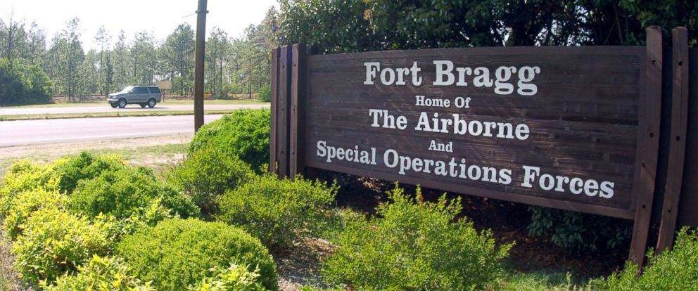 PHOTO: A sign shows Fort Bragg information, May 13, 2004, in Fayettville, North Carolina.