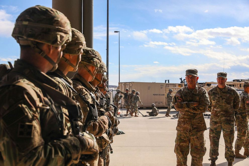 PHOTO: U.S. Army Lt. Gen. Paul E. Funk II talks to soldiers during a visit to Fort Carson, Colo., Feb. 28, 2019.
