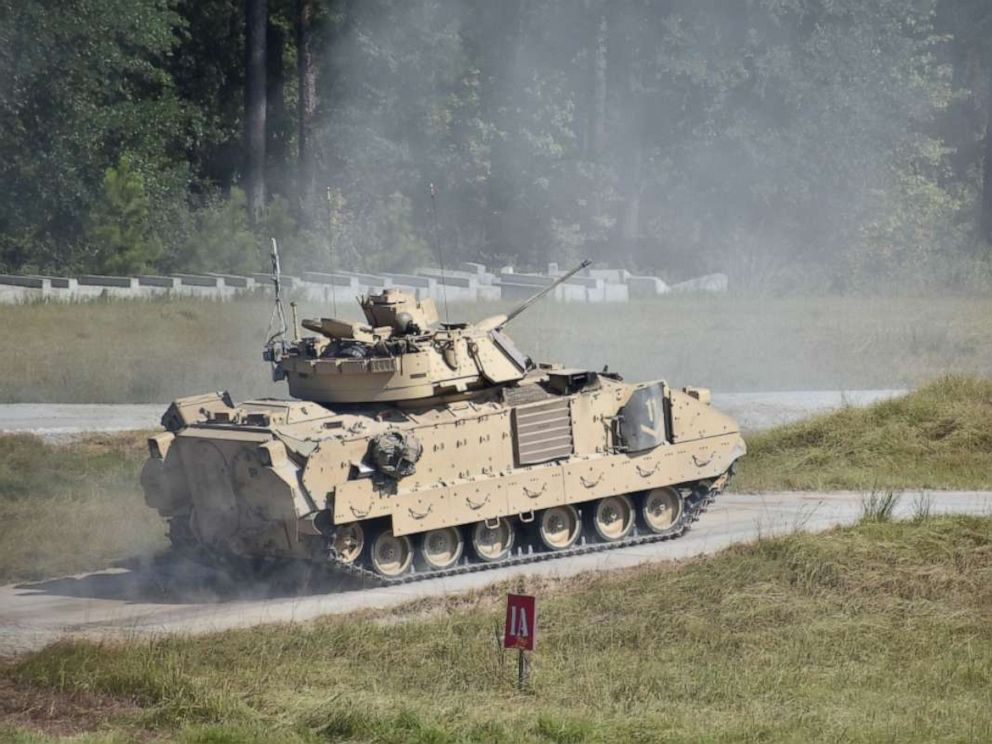 PHOTO: A Bradley Fighting Vehicle during a training session at Fort Stewart in Georgia, Sept. 25, 2019.