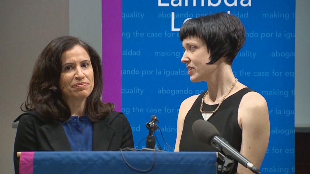 PHOTO: Fatma Marouf and her wife Bryn Esplin filed a federal lawsuit, Feb. 20, 2018, claiming that they were discriminated against becoming foster parents due to their same-sex marriage.