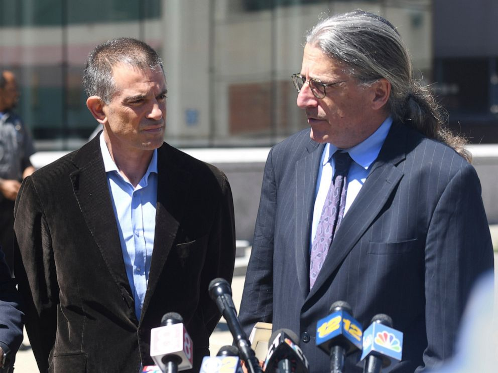 PHOTO: Fotis Dulos, left, is accompanied by his attorney Norm Pattis, after making an appearance at Connecticut Superior Court in Stamford, Conn. Wednesday, June 26, 2019.