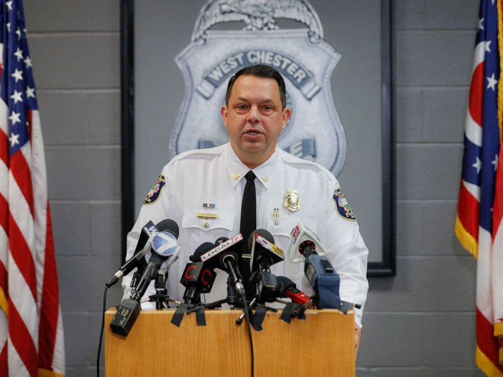 PHOTO: West Chester Chief of Police Joel Herzog speaks to reporters during a news conference, Monday, April 29, 2019, in West Chester, Ohio.