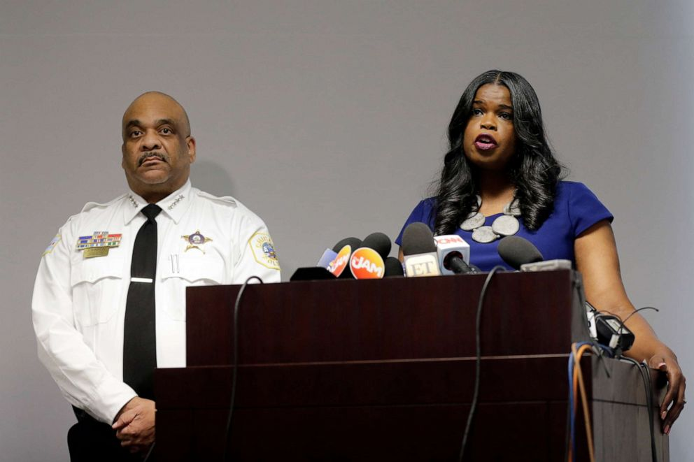 PHOTO: Cook County States Attorney Kim Foxx, right, speaks at a news conference as Chicago Police Superintendent Eddie Johnson listens in Chicago, Feb. 22, 2019.