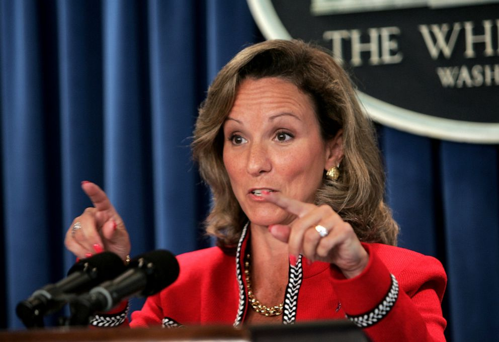 Fran Townsend, President Bush's adviser on Homeland Security, answers questions at a White House press briefing on the reorganization of the Homeland Security system, June 29, 2005, in Washington D.C.Dennis Brack/Bloomberg via Getty Images, FILE