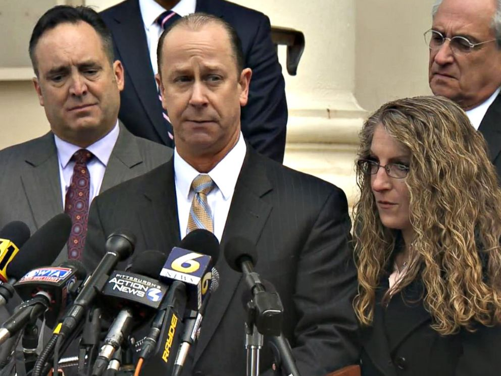 PHOTO: Jim Piazza addressed the media with his wife Evelyn Piazza and Pennsylvania Senate Majority Leader Jake Corman, left, on March 23, 2018, in Bellefonte, Pa.
