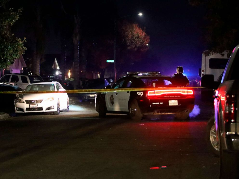 PHOTO: Police work at the scene of a shooting, Nov. 17, 2019, in southeast Fresno, Calif.