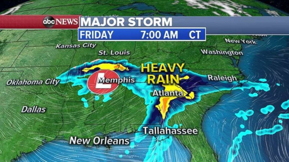 PHOTO: Heavy rain moves into Georgia on Friday morning.