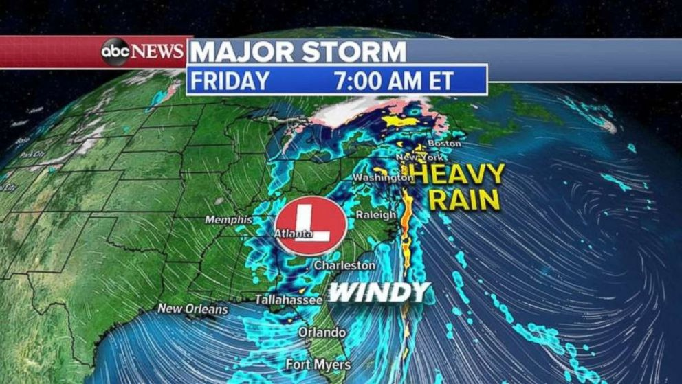 PHOTO: Rain is covering much of the East Coast on Friday morning.