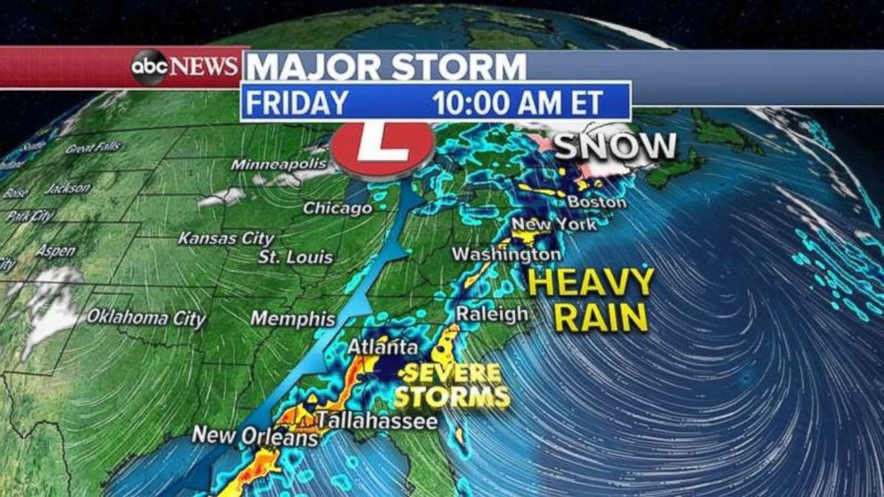 PHOTO: The severe storms will move into the Southeast by Friday morning, while the whole East Coast gets rain.