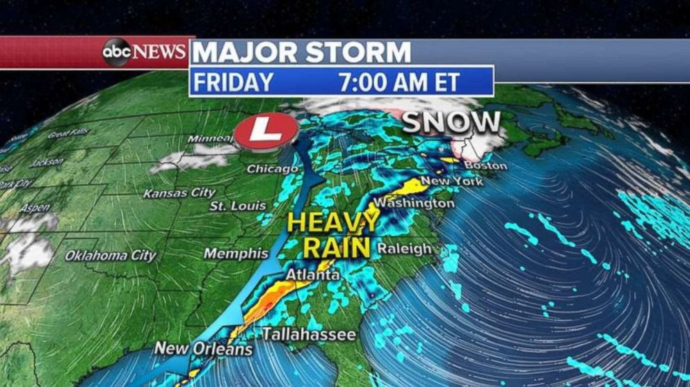 PHOTO: The rain, and snow to the north, will move into the Ohio Valley and reach north to New England overnight Thursday into Friday morning.