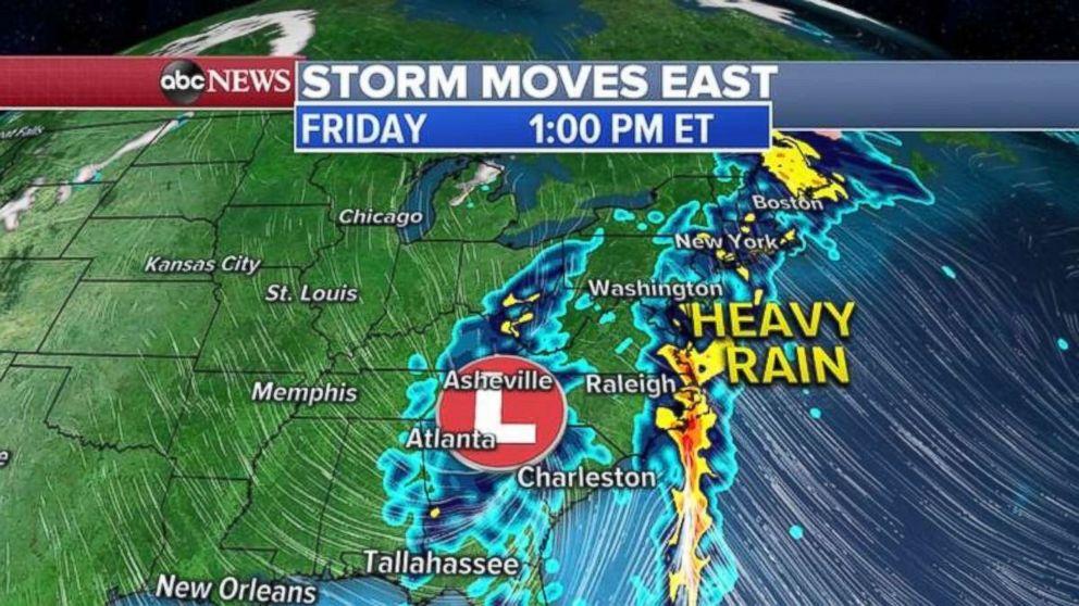 PHOTO: Heavy rain will fall along the entire East Coast on Friday.