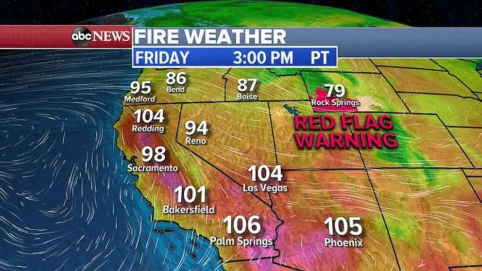 PHOTO: Red flag warnings are in place in the West due to hot, dry weather conditions.