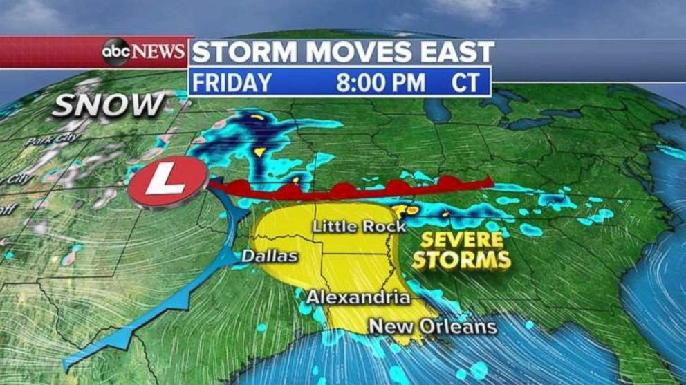 PHOTO: Severe storms are possible from Dallas to Little Rock, Ark., and south to New Orleans on Friday.