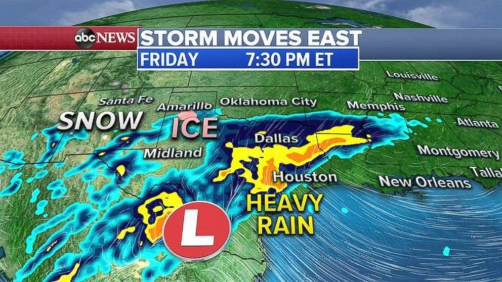 PHOTO: Heavy rain will move through Texas on Friday evening.