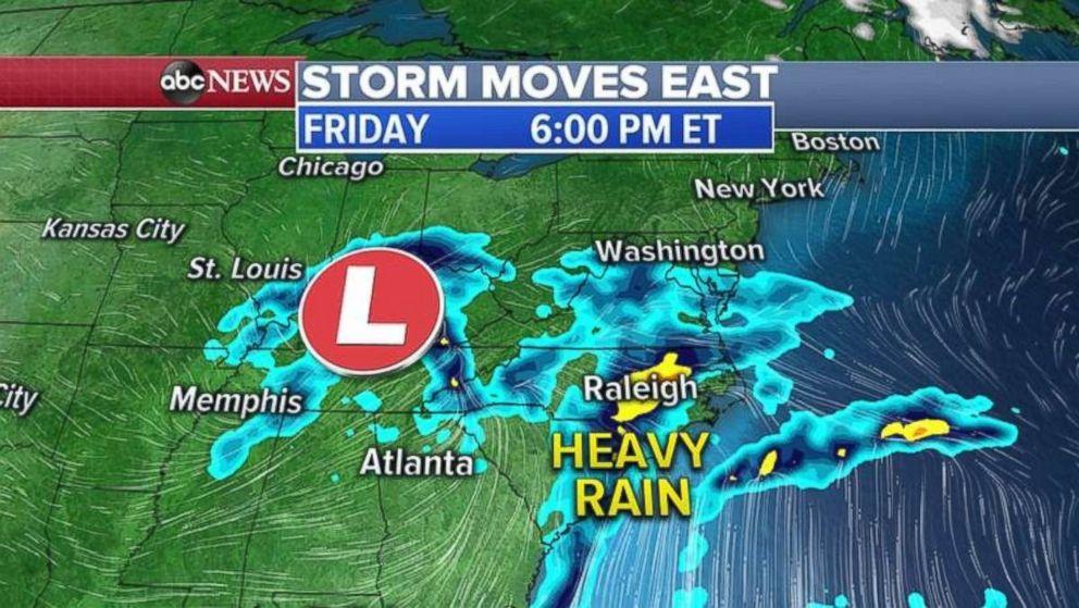 PHOTO: Heavy rain will blanket the Carolinas and Virginia by Friday evening.