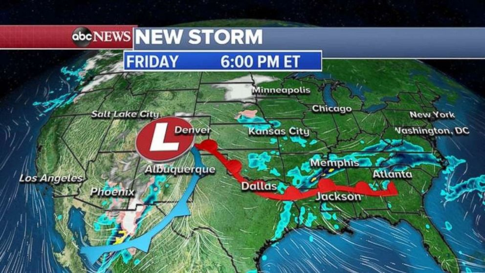 The system will move into the Rockies on Friday night.