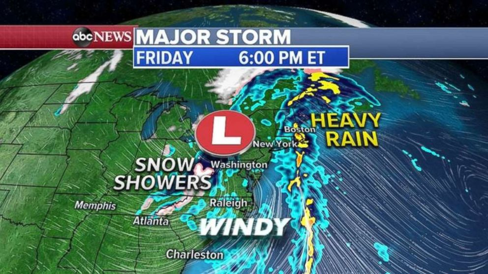 PHOTO: Heavy rain will be falling in New England on Friday evening.