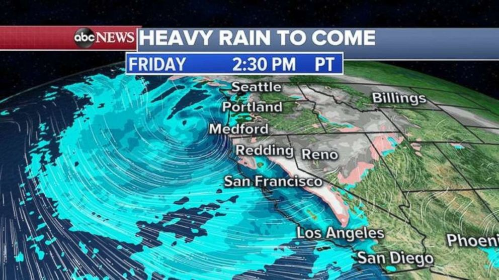 PHOTO: More rain will move into the West Coast on Friday afternoon.