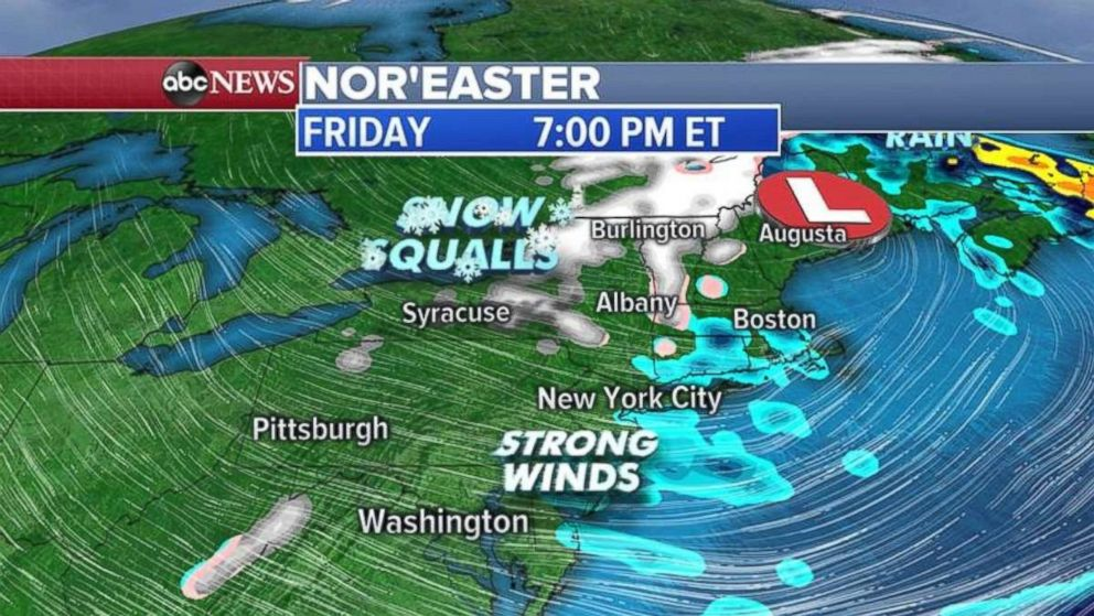 PHOTO: The rain will move into New England through the day Thursday. Snow is possible for inland areas.