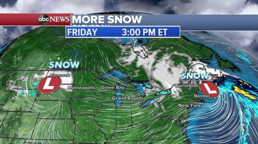 PHOTO: A new system is developing in the Northern Plains on Friday, which will bring snow to the Midwest on Friday and Saturday.