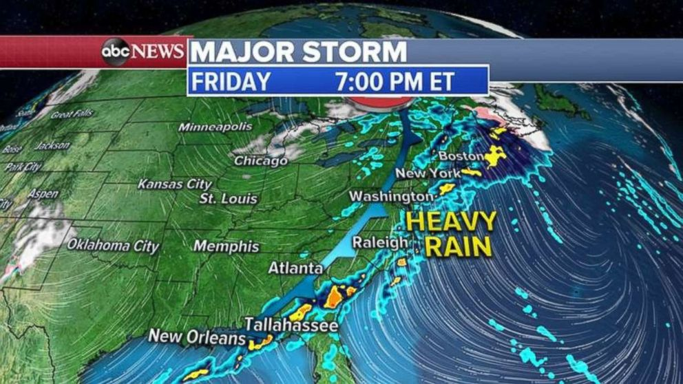 PHOTO: The Northeast will see heavy rain throughout much of the day Friday.