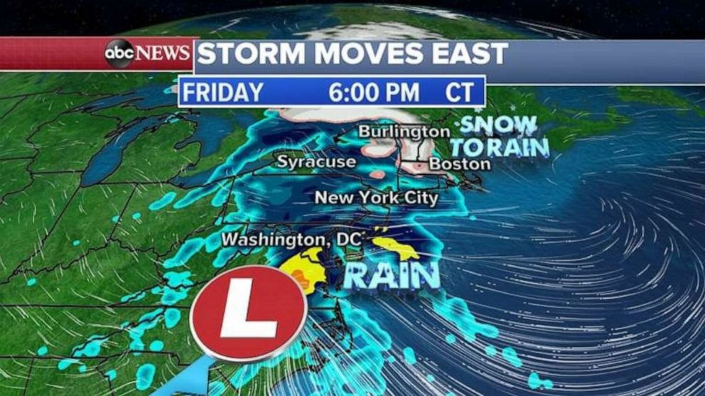 Heavy rain will move into the Northeast on Friday afternoon.