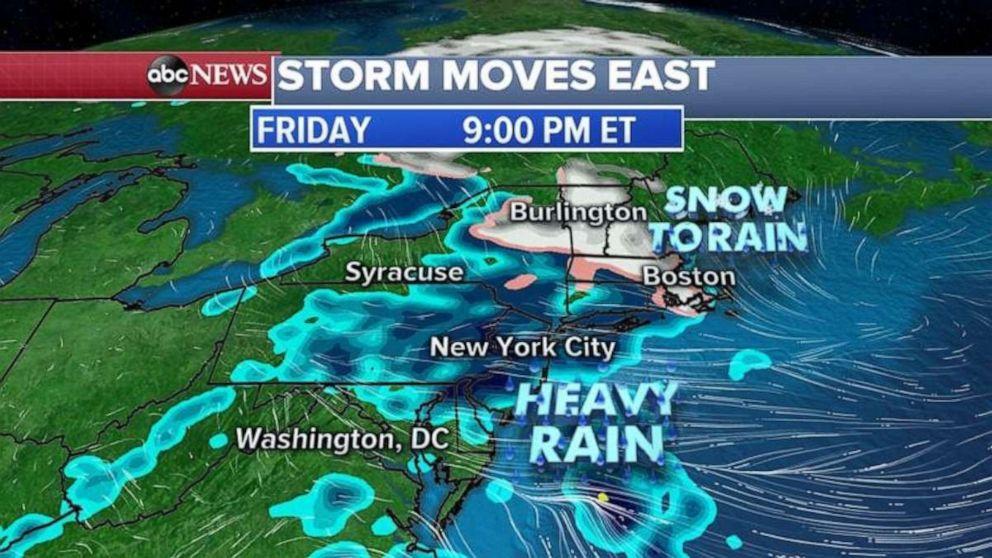 Heavy rain will soak the Northeast on Friday.