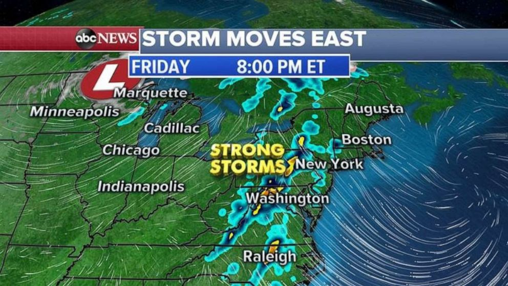 PHOTO: Strong storms will move into the Northeast late in the day Friday.