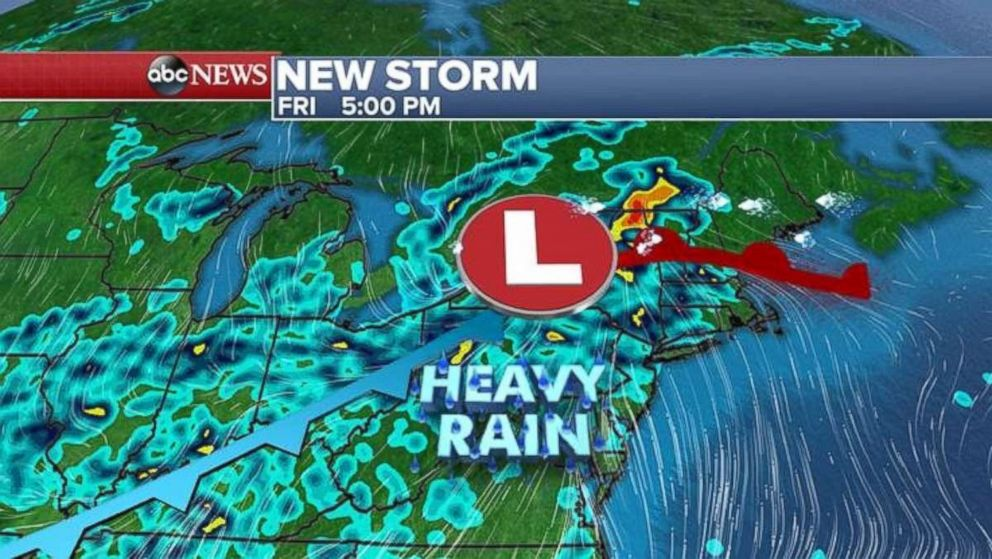 Heavy rain will fall in the Northeast by Friday afternoon.