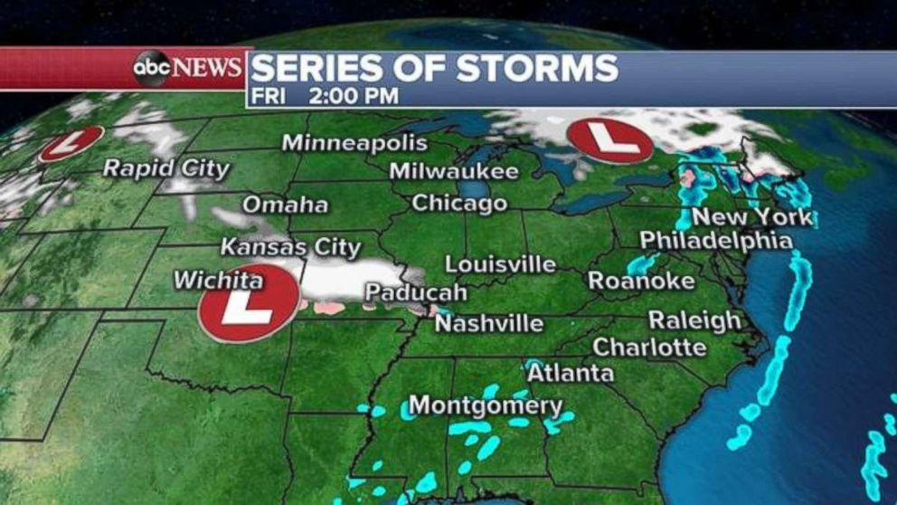 PHOTO: A series of storms is forming in the central U.S. on Friday with effects to be felt in the Midwest and Northeast.