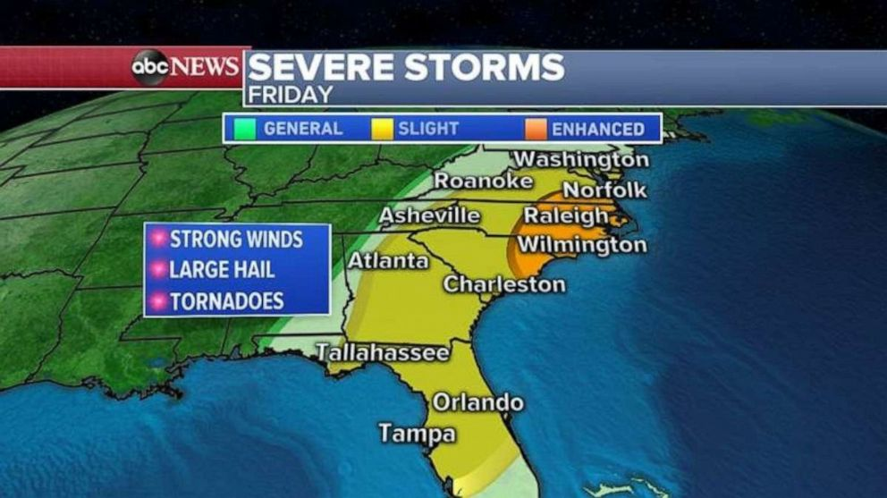 PHOTO: The threat for severe weather moves into the Carolinas, Georgia and Florida on Friday.