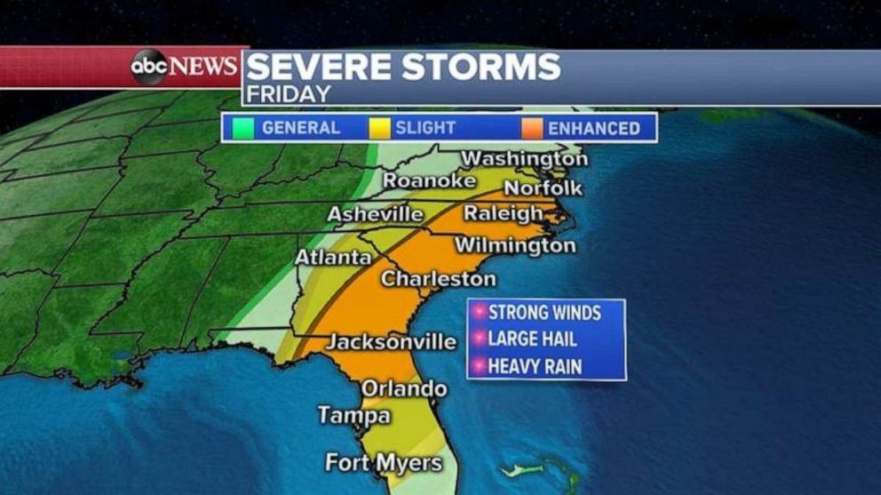 PHOTO: The threat for severe weather moves to the Southeast on Friday.