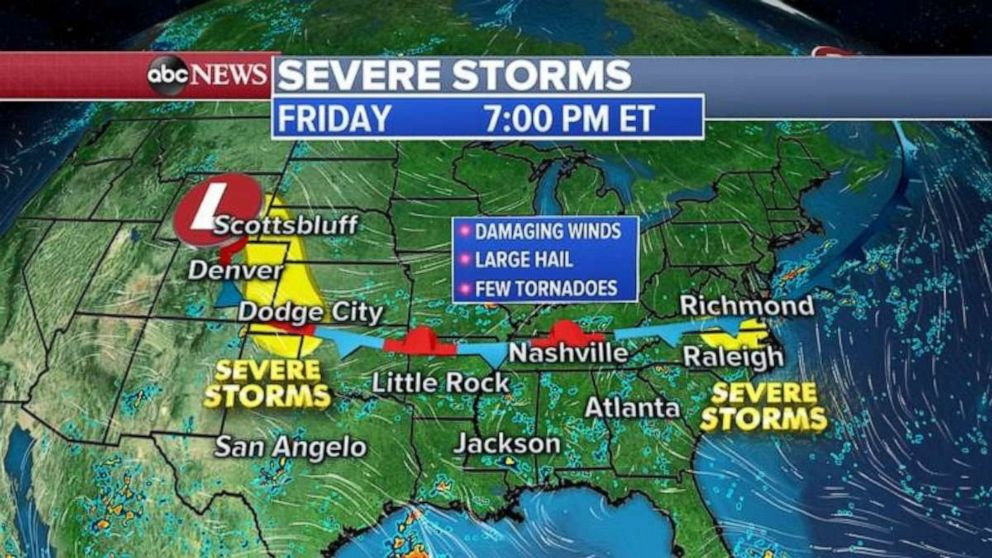PHOTO: Severe storms are possible in the Plains and Virginia and North Carolina on Friday.