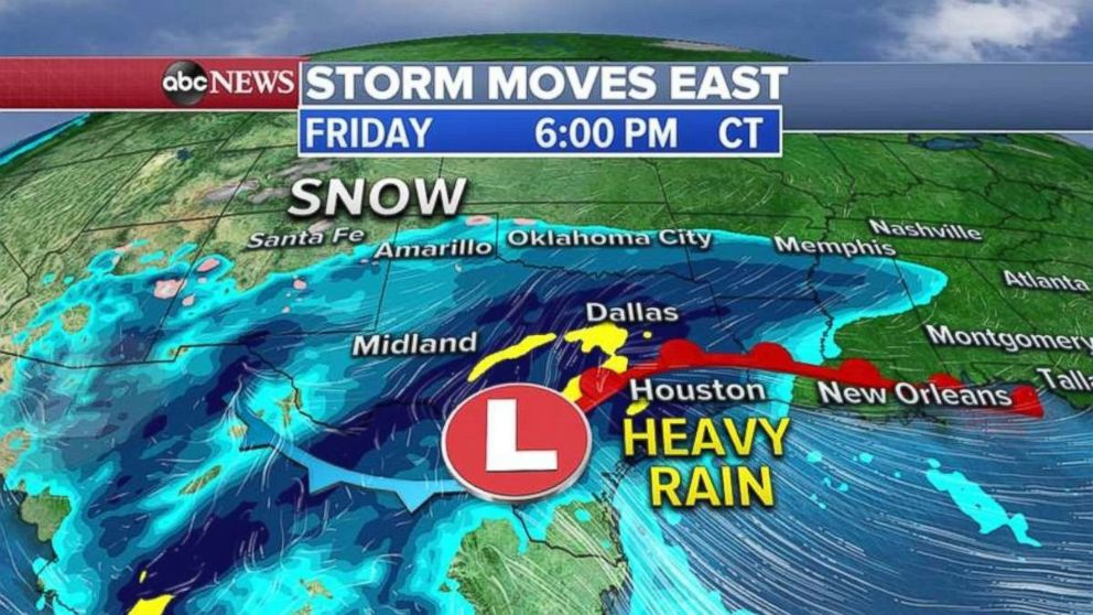 PHOTO: The storm will redevelop in Texas on Friday and bring heavy rain to the region.