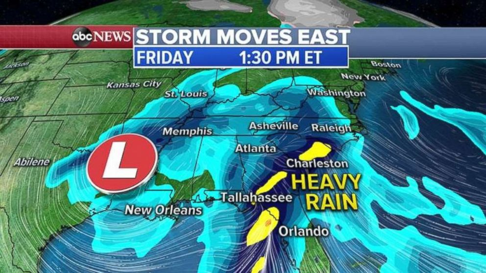 The rain will not move much by Friday, as the Southeast starts to feel its effects.