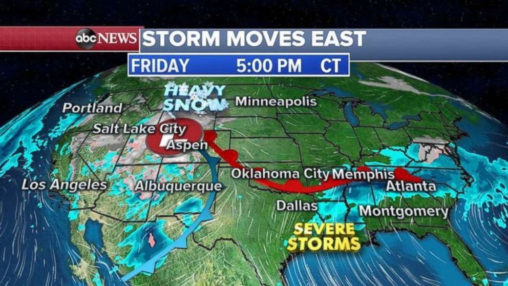 PHOTO: Rain will fall in the South, while heavy snow is likely in the Plains on Friday night.