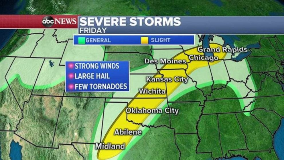 PHOTO: The threat for severe weather stretches from western Texas to the Chicago on Friday.