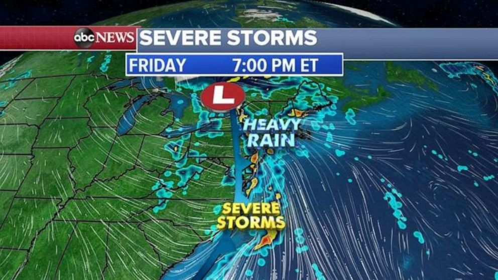 PHOTO: The heavy rain will move onto the East Coast on Friday.