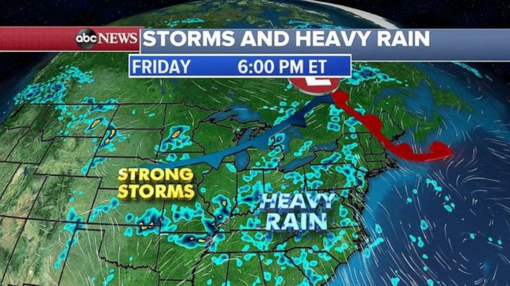 PHOTO: Strong storms and heavy rain are possible across much of the eastern half of the U.S. on Friday.