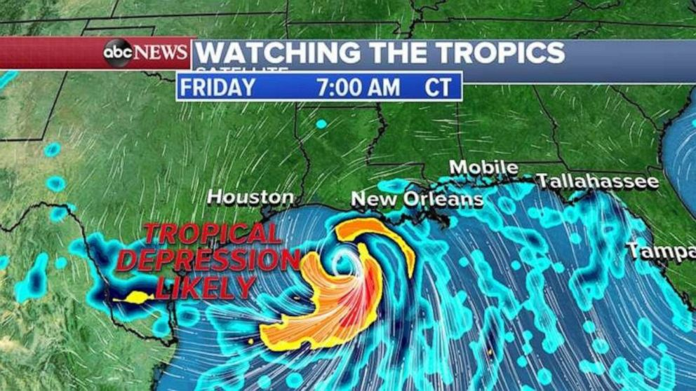 PHOTO: The system will develop just off the southern coast of Louisiana.