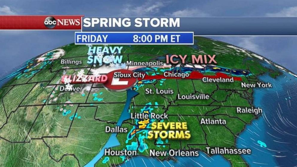 There are severe storms in Louisiana and Arkansas on Friday night, while heavy snow moves into the Northern Plains.