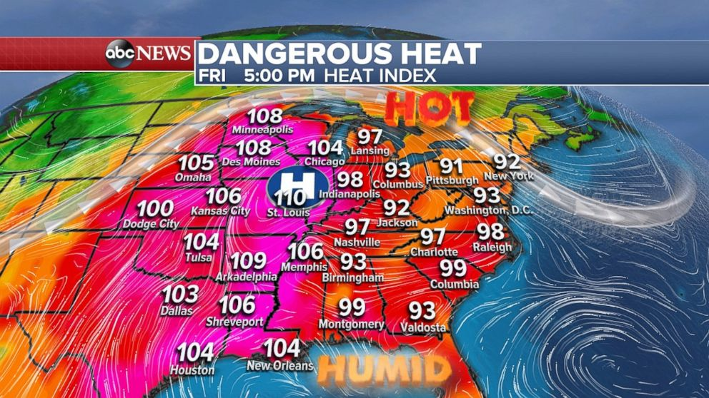 Dangerous heat will prevail on Friday in large parts of the country.