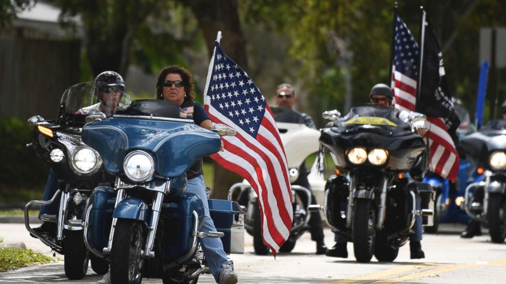 Members of the Florida state patriot guard riders arrive at the funeral services for slain Marjory Stoneman Douglas student Carmen Schentrup, Feb. 20, 2018, at St. Andrews Catholic Church in Coral Springs, Fla.