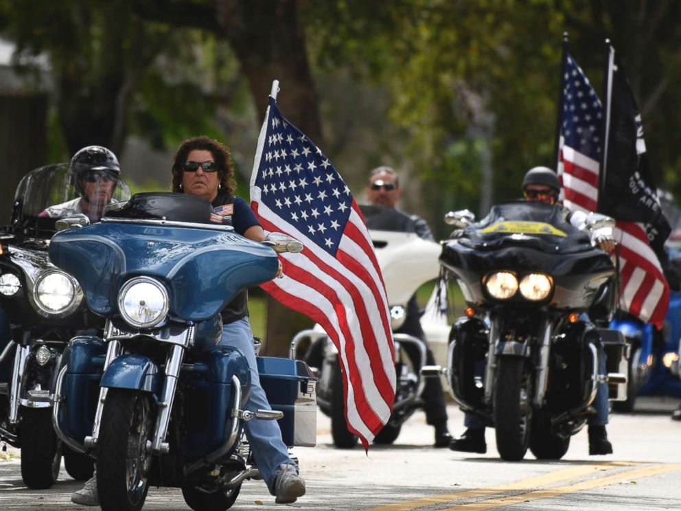PHOTO: Members of the Florida state patriot guard riders arrive at the funeral services for slain Marjory Stoneman Douglas student Carmen Schentrup, Feb. 20, 2018, at St. Andrews Catholic Church in Coral Springs, Fla.