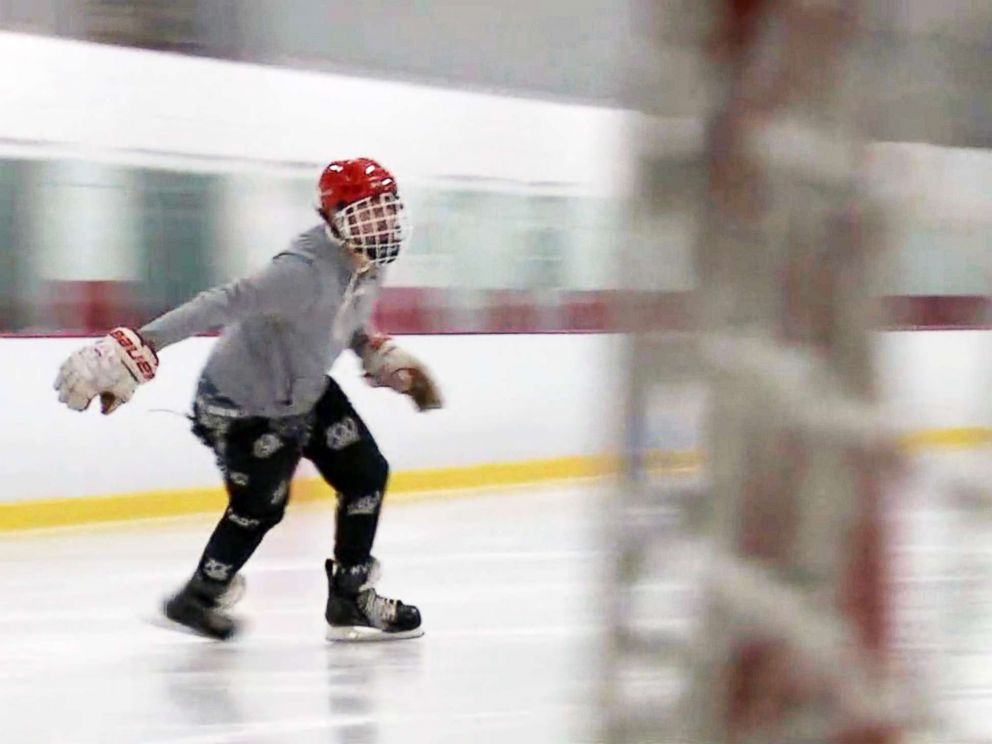 PHOTO: Gage Senter, 18, returns to the ice after suffering a traumatic brain injury three years ago.