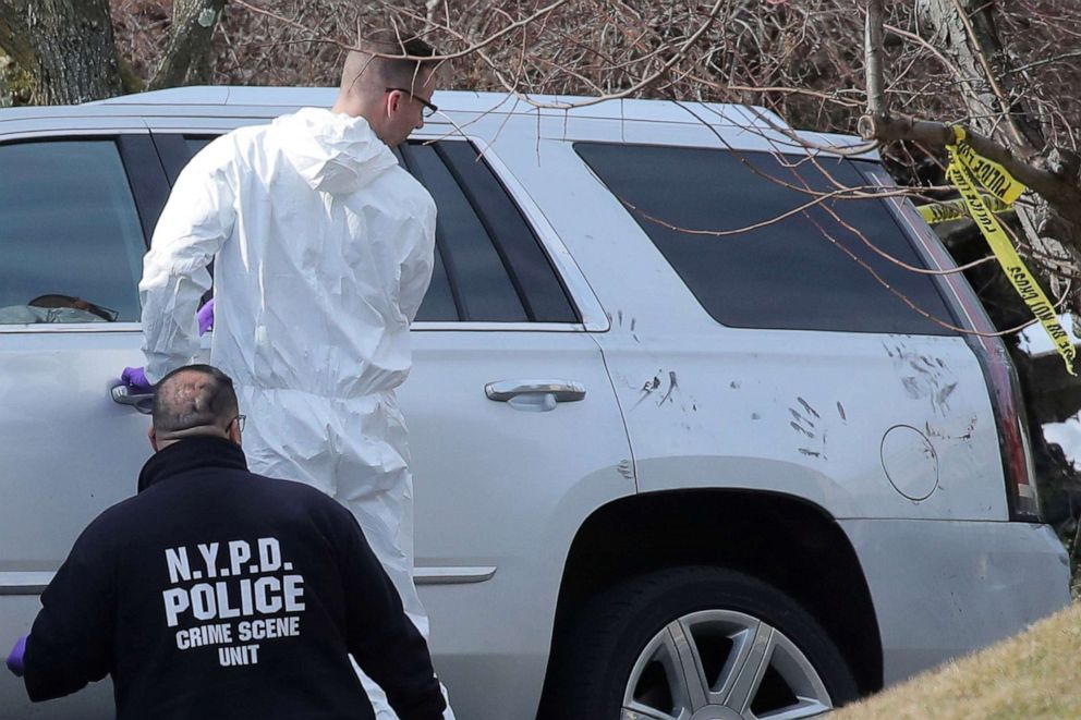 "New York City Police (NYPD) Crime Scene investigators work at the scene where, reported New York Mafia Gambino family crime boss, Francesco ""Franky Boy"" Cali, was killed outside his home in the Staten Island borough of New York City, March 14, 2019."